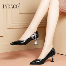 Women Shoes High Heel Pumps Leather Ladies Black Heels Work Shoes Pointed Toe Sexy Weddings Shoes Big Size 41 42 wruchee lady footwear working shoes 8cm stone leather black high heeled pointed toes shoes big size 42 heels shoes women