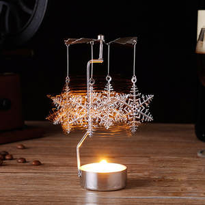 Candle Tea-Light-Holder Carousel Romantic Christmas-Gift Home-Decor Metal Spinning New-Rotary
