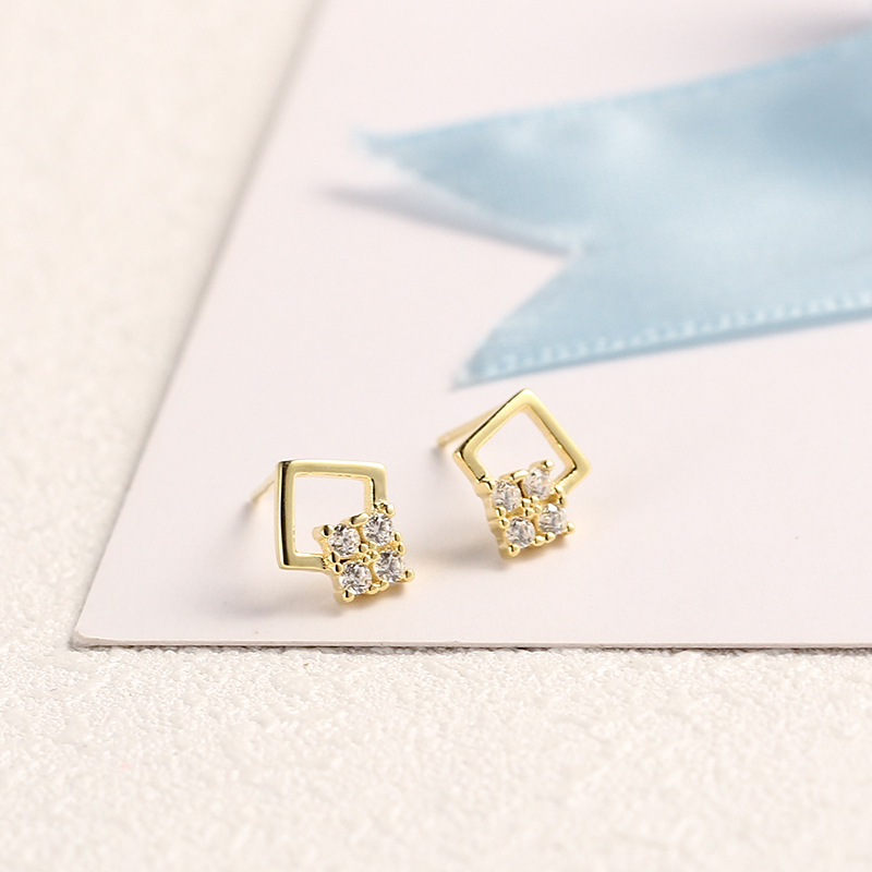 925 Sterling Silver Jewelry Square Zircon Stud Earrings For Women 2018 Gold Color Korean Style Elegant Short Hair S925 Earrings
