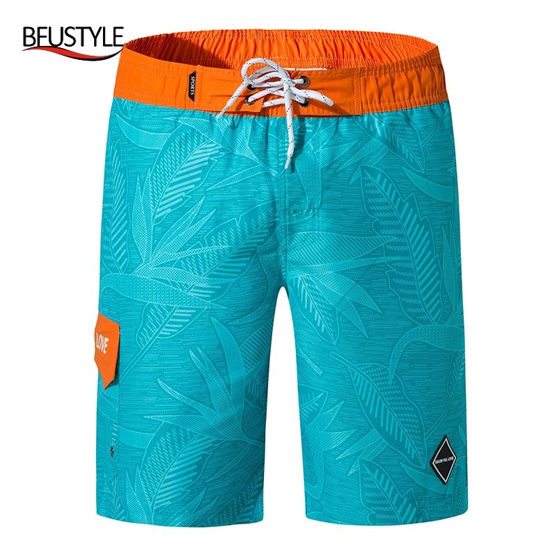 BFUSTYLE Quick Dry Summer Mens Siwmwear Beach   Board     Shorts   Briefs For Men Swim Trunks Tag Decorated Swim   Shorts