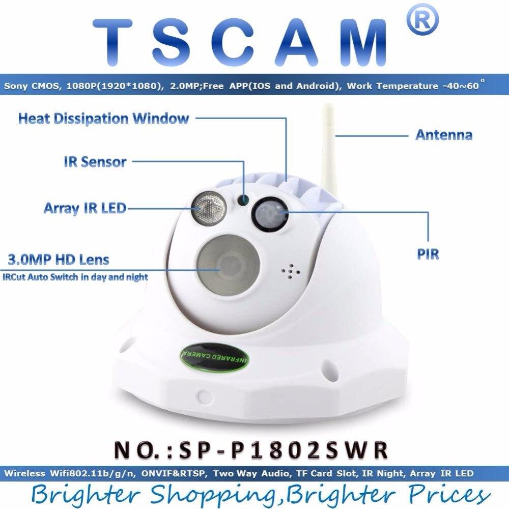 TSCAM new SP P1802SWR Wireless Full HD 1080P 2 0MP Dome IP Camera PIR Alarm P2P
