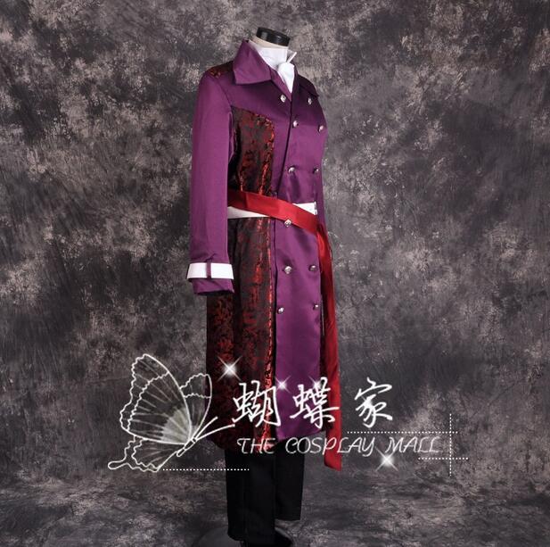 Hakuouki Chikage Kazama Cosplay Costume Purple Coat Free Shipping