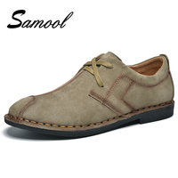 British Style Fashion Comfortable Breathable Men Falt Shoes Lace Up Solid Vintage Split Leather Male Causal