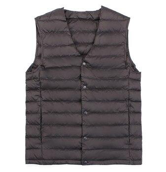 2018 New Man Ultra Light Down Vest Spring Autumn Sleeveless V-Neck Vest Male Casual Winter Collarless Waistcoat