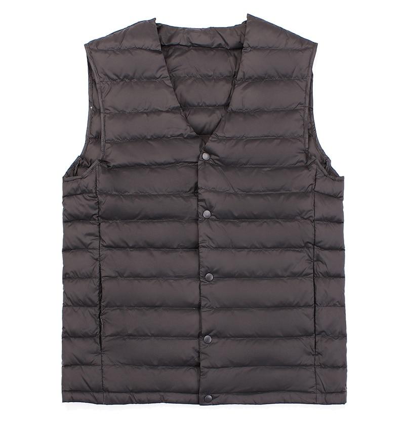 New Man Ultra Light Down Vest Spring Autumn Sleeveless V-Neck Vest Male Casual Winter Collarless Waistcoat