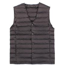 New Man Ultra Light Down Vest Spring Autumn Sleeveless V Neck Vest Male Casual Winter Collarless Waistcoat