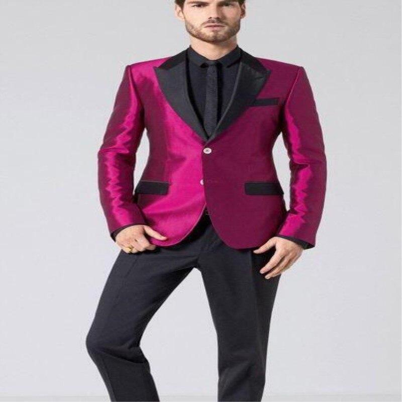 Latest Coat Pant Designs Hot Pink Satin Men Suit Formal ...
