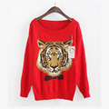 Europa design de Moda malha pullover manga Longa Tigre bordado camisolas roupas femininas SG1005MY