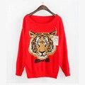 Europa diseño de Moda de punto de manga Larga suéter bordado Tigre suéteres ropa SG1005MY
