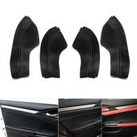 4pcs Leather Front / Rear Interior Door Panels Guards / Door Armrest Covers Protective Trim For Honda Civic 10th Gen 2016 2017