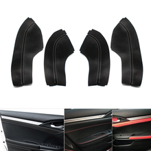 4pcs Microfiber Leather Interior Door Panels Guards / Door Armrest Covers Protective Trim For Honda Civic 10th Gen 2016 2017