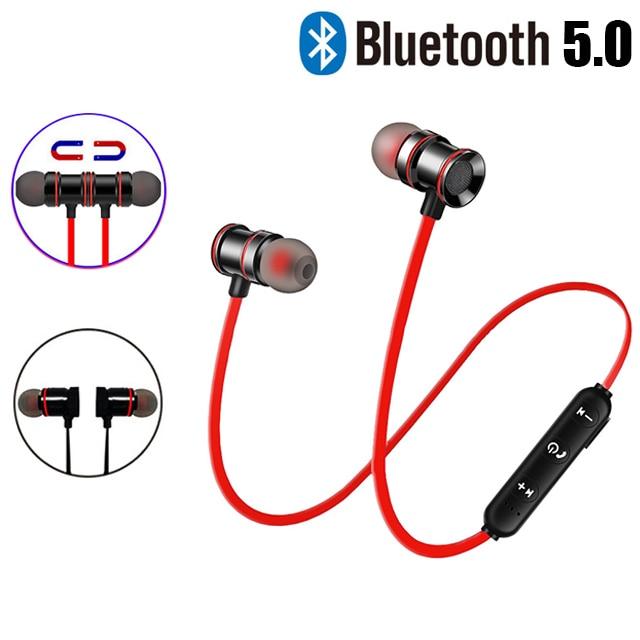 Magnetic Metal Wireless Bluetooth Earphone Headphones Ear Hook Sports Headset Bluetooth Earphones For Phone Handsfree Earbuds