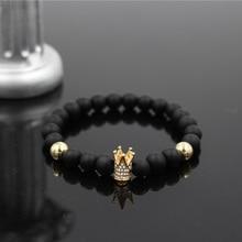 Fashion Geometric Charm Men Women Micro Inlay Crystal Crown Bracelet Natural 8mm Black Matte Onyx Stone Bead Elastic