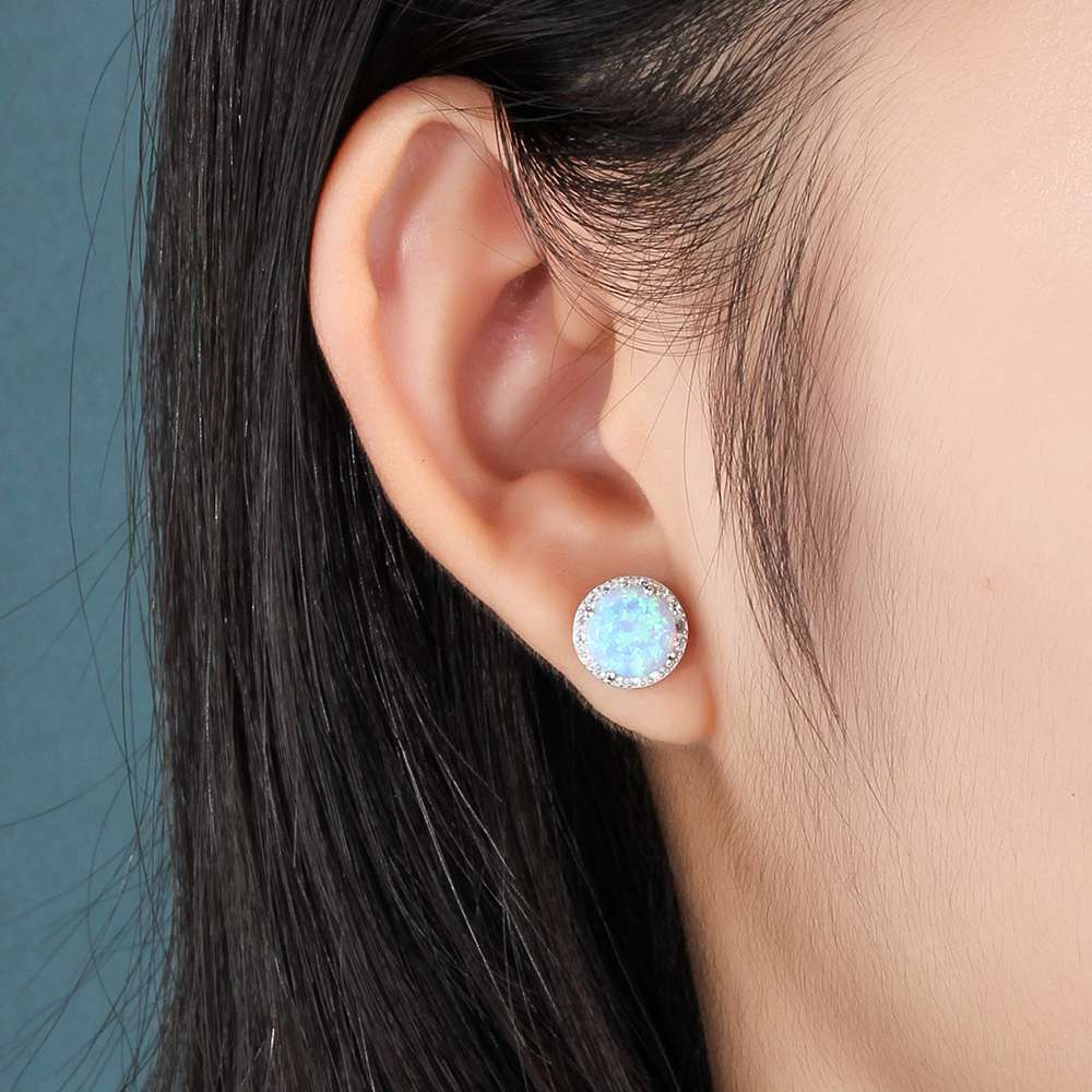 Elegantno Okrugli Blue Fire Opal Stud Earrings Pravi 925 Sterling - Fine nakit - Foto 6