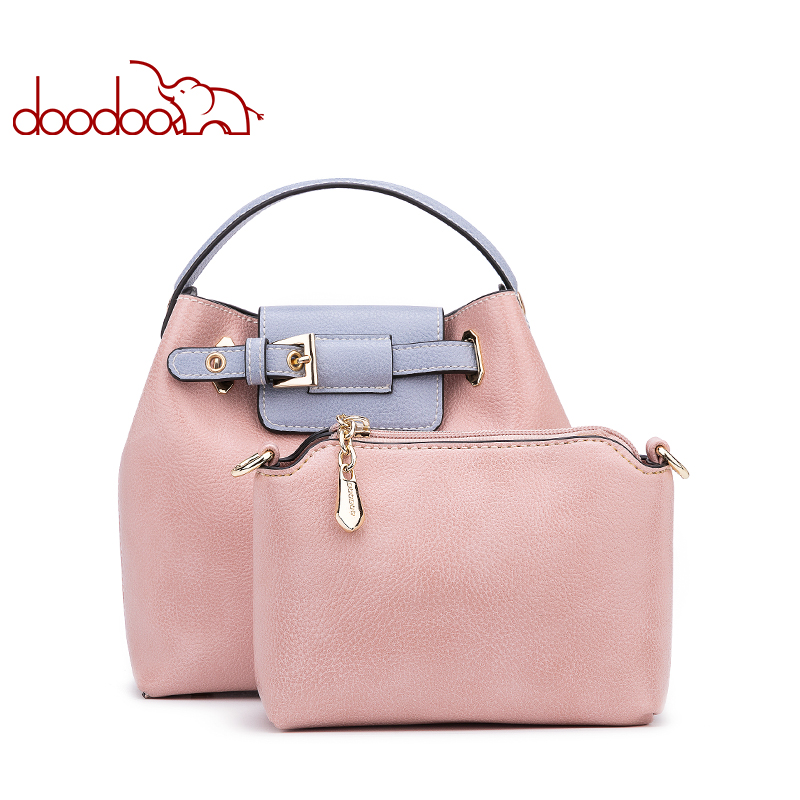 цена на DOODOO Women Handbag Tote Bucket Bag Female Shoulder Crossbody Bag Female Pu Leather Decorative Belt Spell Color Top-handle Bag