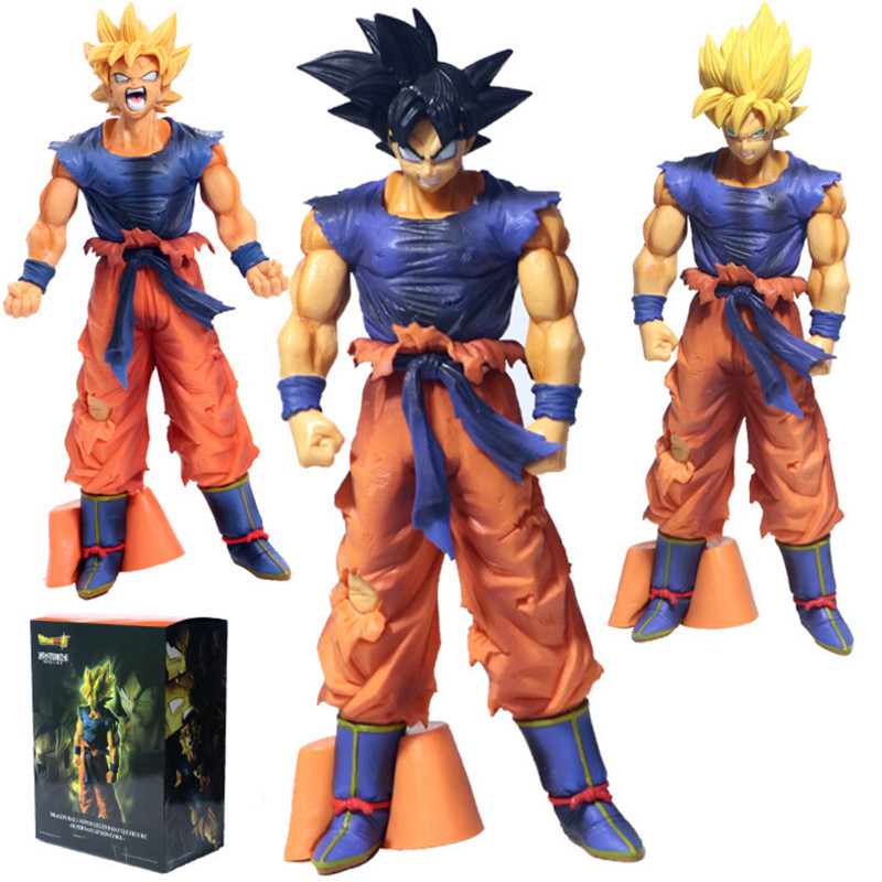 Flight Tracker 26cm Big Dragon Ball Z Goku Super Saiyan War Damage Ver Action & Toy Figures Chocolate Pvc Action Figure Dbz Brush Saiyan Blood 3 Styles