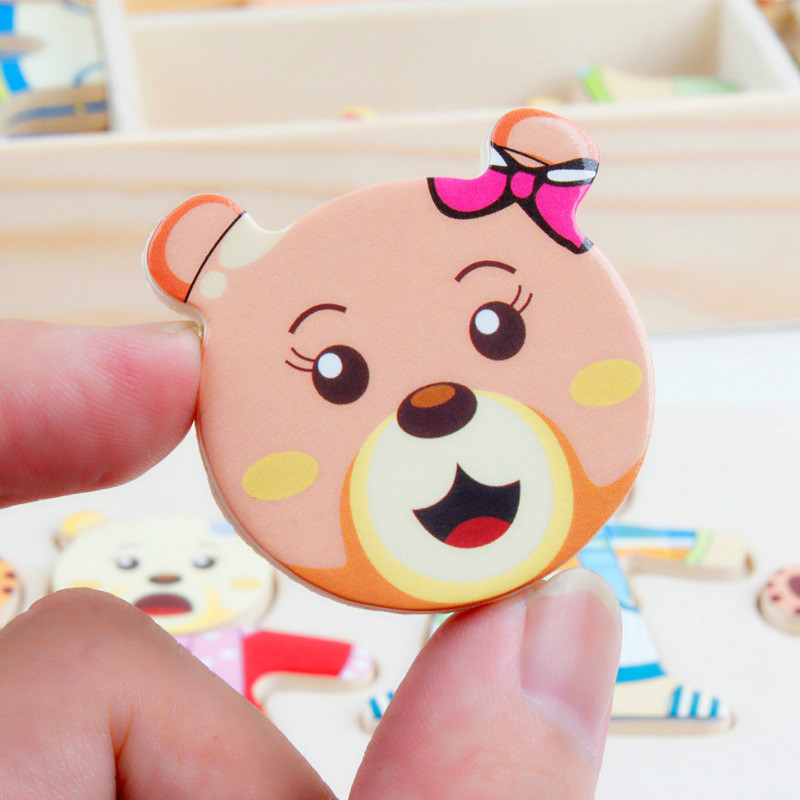 Image 4 - 72pcs Cartoon 4 Rabbit Bear Dress Changing Jigsaw Puzzle Wooden Toy Montessori Educational Change Clothes Toys For Children Gi-in Puzzles from Toys & Hobbies