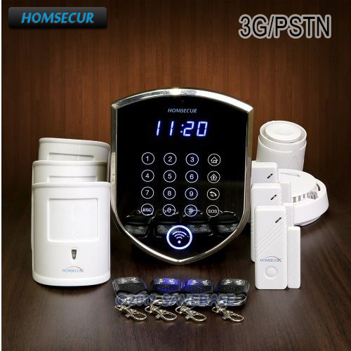 HOMSECUR Wireless WCDMA-3G/Landline LED Burglar Alarm System With Smoke Detector