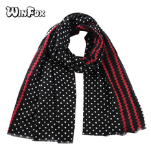 Winfox Black Red Polka Dot Scarf Women Female Chevron Zig Zag Striped Long Wraps Shawl Stole Soft Scarves