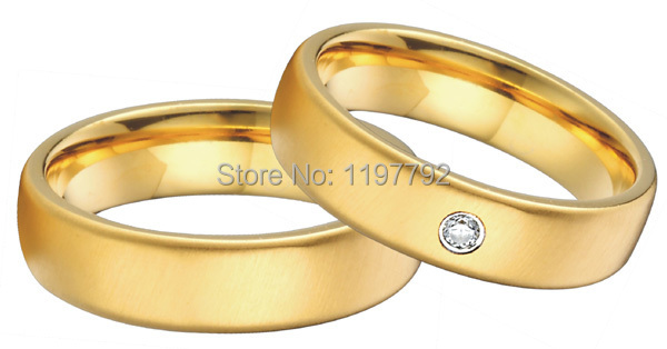 tailor made his and her rings yellow gold color health titanium steel engagement ring jewelry wedding bands sets цены