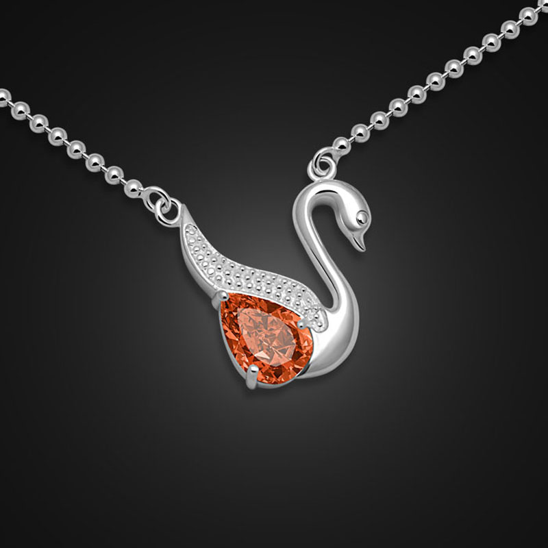 Fashion elegant champagne zircon swan pendant necklace.Women solid 925 silver necklace.Charming lady sterling silver jewelry