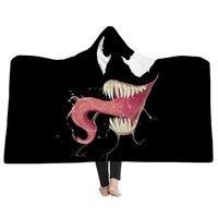 EHOMEBUY New Arrival 3D Blankets Black Monster Tongue Hooded Blanket 3D Printed Wearable Adults Blankets Cartoon Hooded Blanket