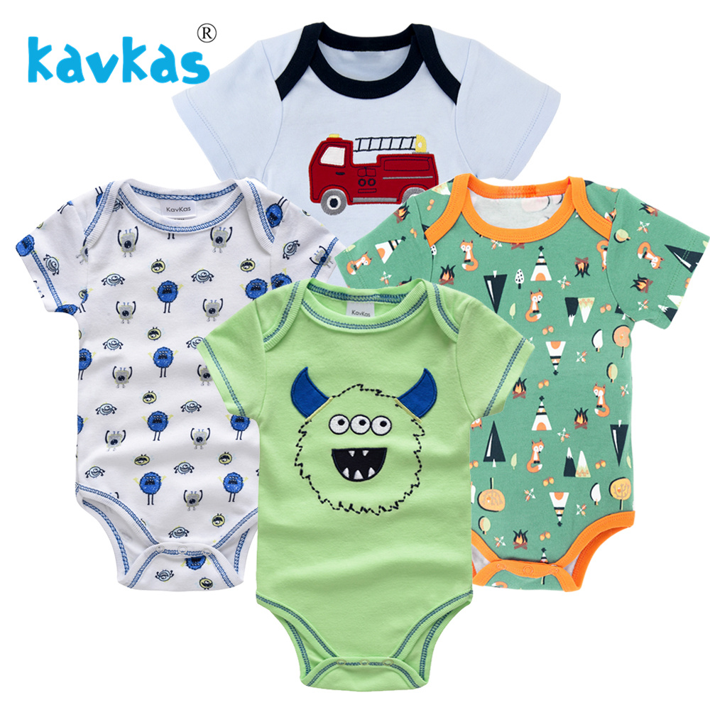 Kavkas/Пижама для младенцев 4 шт./компл. короткий рукав новорожденных Пижама для маленьких мальчиков/младенцев Одежда для маленьких мальчиков bossa nova - Цвет: HY21692172