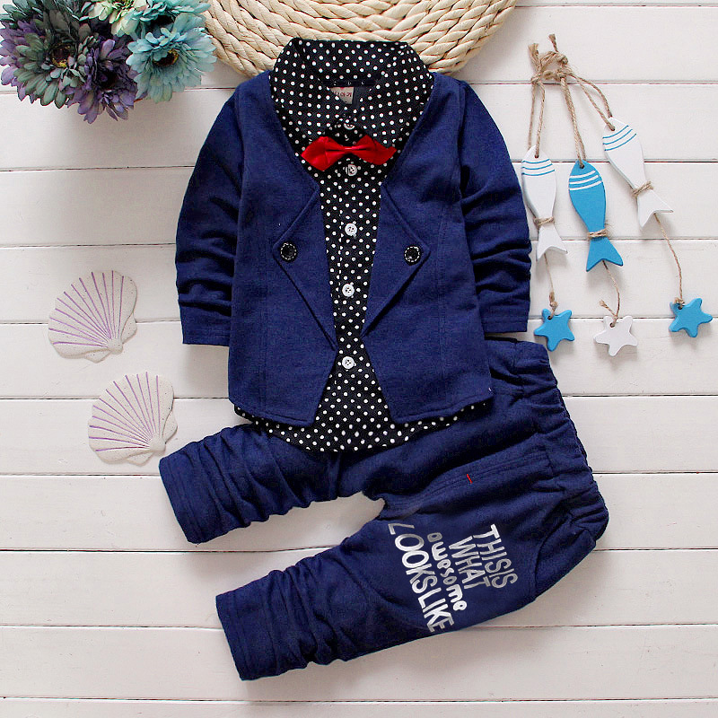 HOT Spring Autumn children baby boys clothing sets cotton cardigan suit set kids coat + pants 2pcs outfit clothes 2017 set Cloth