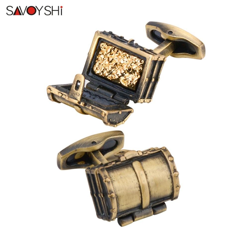 SAVOYSHI Retro Treasure Box Cufflinks For Mens Shirt Cuff Nails Bronze Cufflinks High Quality Fashion Cuff Bottons Men Jewelry
