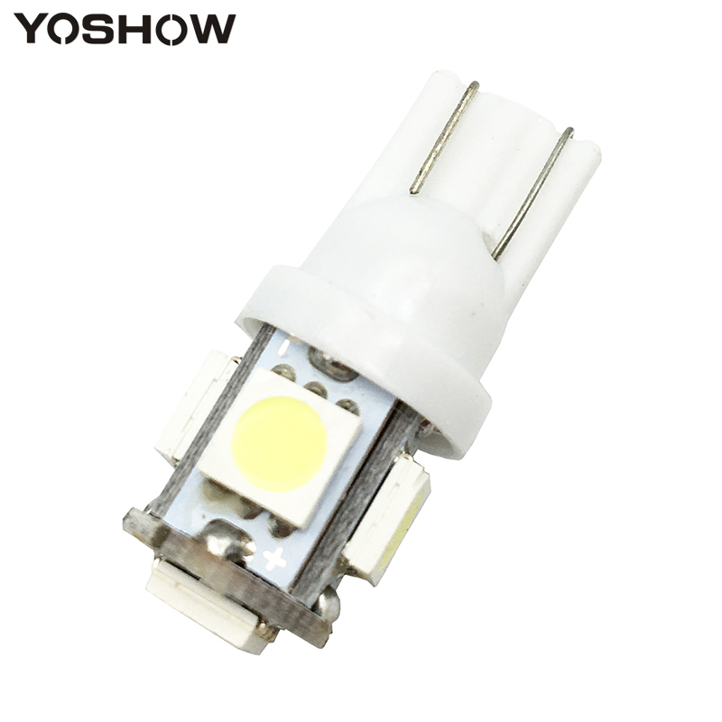 1pcs T10 W5W 5050 5 SMD 194 168 Xenon white/blue/red/green/yellow Wedge Interior Side Dashboard License Light Lamp Car Styling urbanroad 10pcs lot t10 w5w led bulbs 194 168 cob xenon white parking interior side dashboard license light lamp car styling