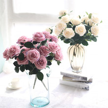 10 Heads Rose Pink Silk Artificial Flowers Bride Holding Flower Bouquet Fake For Home Party Wedding Decoration indoor