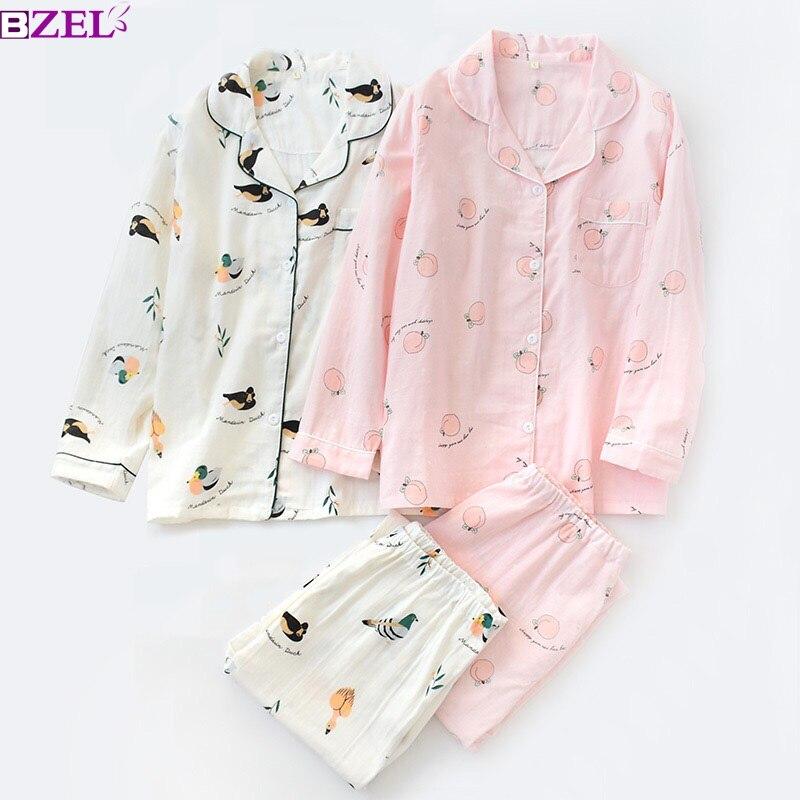 Women Sleepwear Peach Printed Cartoon Mandarin Duck 100% Gauze Cotton Ladies   Pajamas   Long-sleeve Thin Section Lapel   Pajamas     Set
