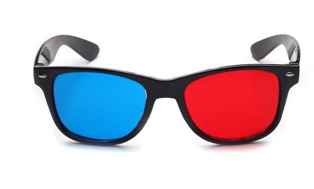 2pcs/lot Retail Red Blue Plasma Plastic 3D Glasses TV Movie Dimensional Anaglyph Framed 3D Vision Glasses for led projector