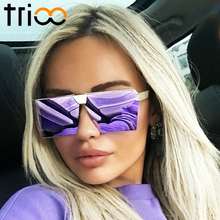 TRIOO Flat Top Square Sunglasses Women Big Metal Shades High Quality Oculos Oversized UV400 Protection Reflective Lens Lunette