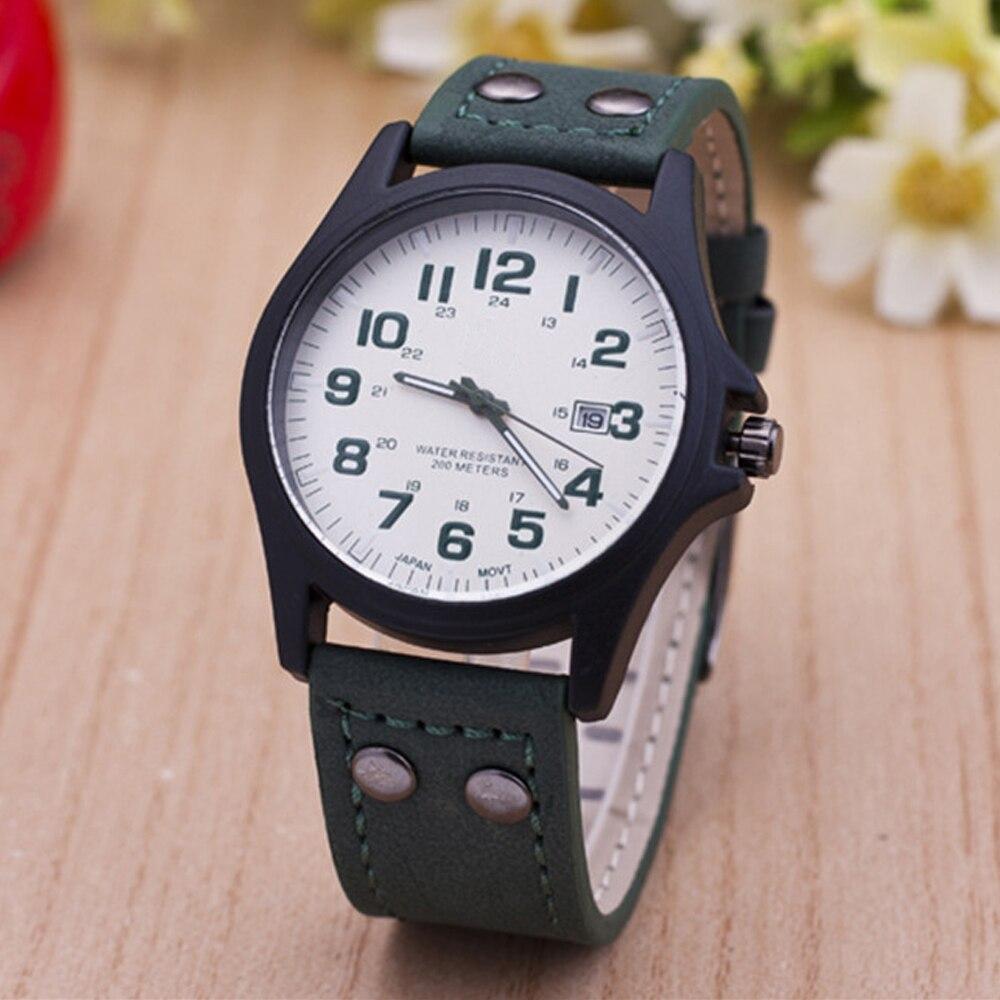 Luxury Hot Selling Sports Wristwatch New Leisure Leather Watch Men Calendar Quartz Watches High Quality Army Relogio Masculino