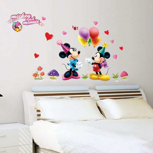 1 set 30*48 Inch Kids Bedroom Decorative Happy Mickey And Minnie Wallpaper Cute Cartoon Wall Decals AY9083