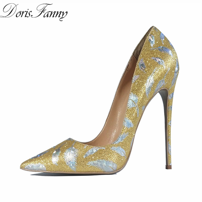 DorisFanny Party Wedding shoes woman Glitter gold shoes for women printed sexy high heel pumps pointed-toe stiletto heels shoes padegao fashion women shoes 2017 high heels wedding party dress shoes light gold mesh cloth shoes pointed toe pumps
