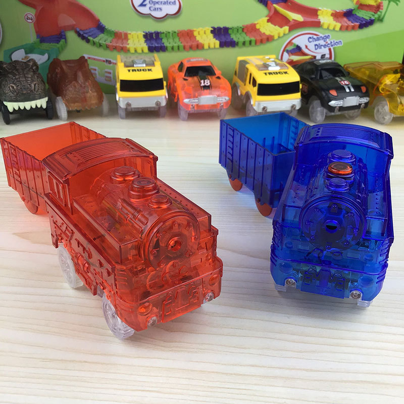 LED Light Cars For Magic Tracks Electronics Car Toys With Flashing Lights Fancy DIY Diecast Toy Car Oyuncak Araba Drop Shipping