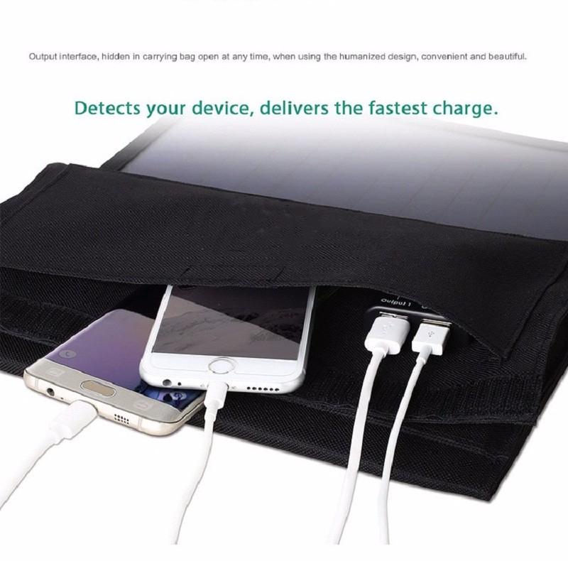 Prix pour BUHESHUI 22 W Gué Solaire Panneau Chargeur Portable Double USB Chargeur Solaire Pour iphone/Puissance Banque Sunpower Haute Efficacité NOUVEAU