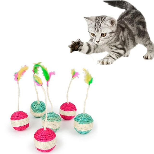 Funny Pet Cat Kitten Toy Rolling Sisal Scratching ball Cat Kitten Play Dolls Tumbler Ball Pet Cat Toys Interactive Feather Toy