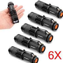 6X Mini Q5 7W 1200Lm LED Flashlight Cycling Bike Bicycle Front Head Torch Lamp Adjustable Focus Zoom Light Bike Accessories