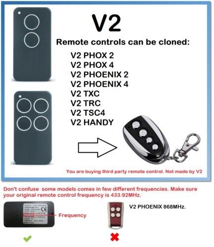 V2 PHOX 2 PHOX 4 PHOENIX 2  PHOENIX 4  TXC  TRC  TSC4  HANDY  Universal Remote Control Duplicator 433.92MHz Rolling Code