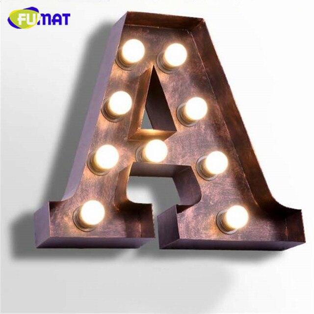 Fumat Vintage Letters Lamps Loft Industrial Logo A Wall