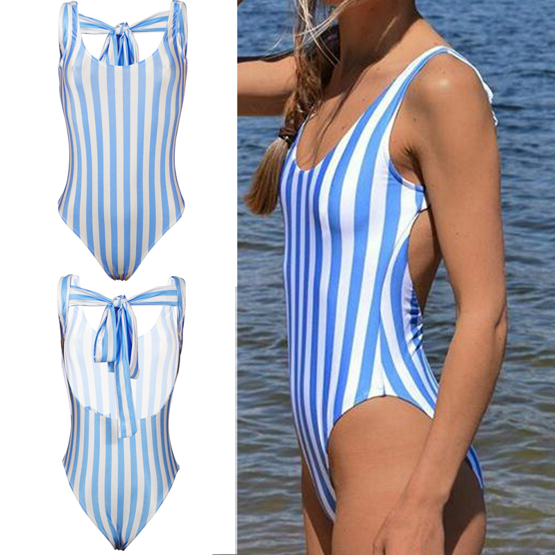 a4c76f51a6 2017 Women Sexy Vertical Stripes One-piece Swimsuit Bandage Swimsuits  Bikini Swimwear Bathing Swimming Suit Summer Clothing