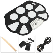W758 Digital Portable 9 Pad Musical Instrument Electronic Roll-up Drum Kit все цены