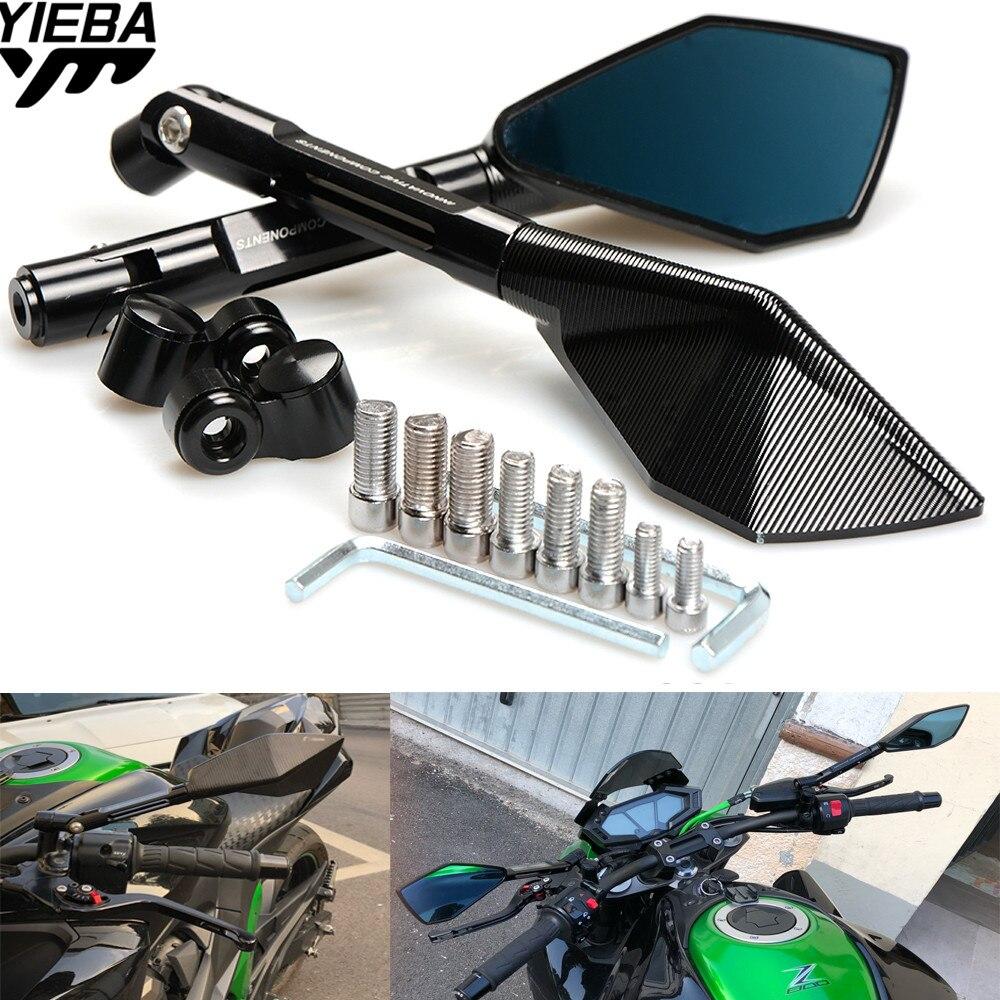 Motocicleta Retrovisor Visão Espelho Lateral Espelhos de Vidro Azul PARA KAWASAKI Z750 Z750R Z250 Z1000 NINJA 250/300 TMAX 530 YZF R1 05-15