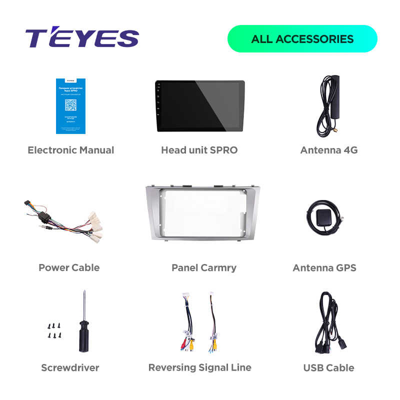 راديو سيارة TEYES SPRO متعدد الوسائط ملاحة الفيديو ونظام تحديد المواقع أندرويد 8,1 8.1 4G لتويوتا كامري 7 XV 40 ملاحة واي فاي