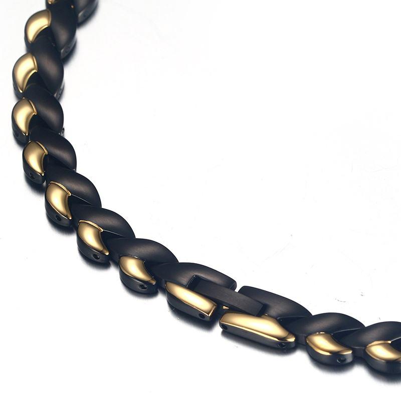 6c1fb0b94a67 De los hombres de la moda de las mujeres terapia magnética de collares de acero  inoxidable 4 in1 gargantilla collar alivio del dolor para el cuello la ...