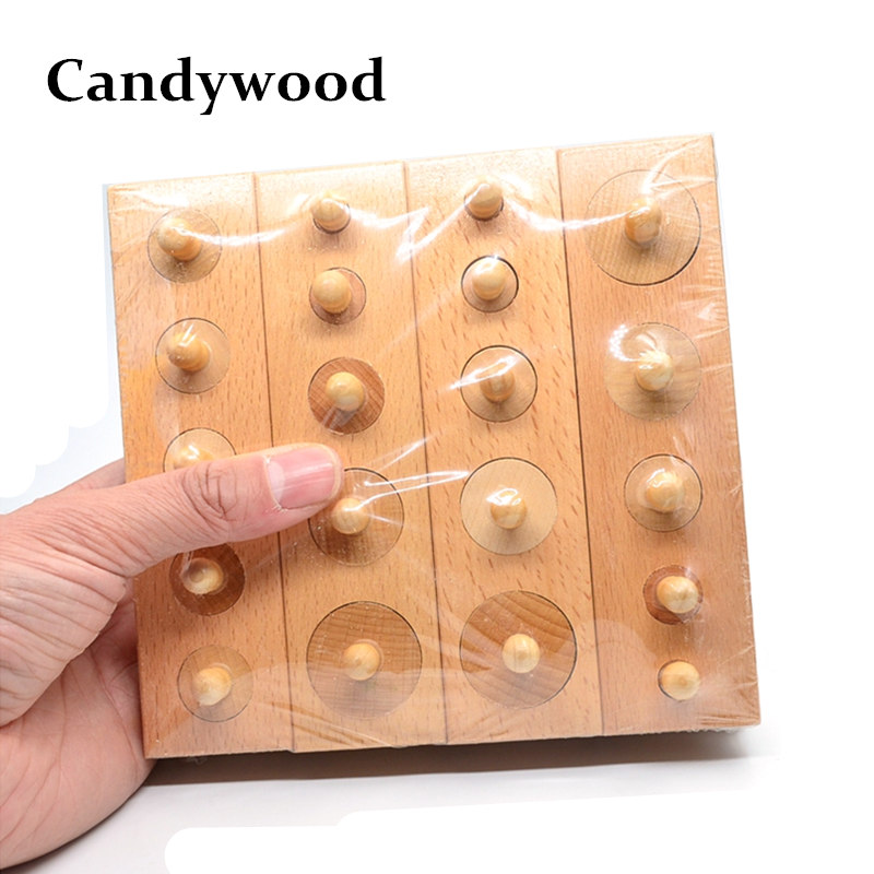 Candywood 4pcs/set Wooden Cylinder Socket Blocks kids wooden toys Upgraded Montessori Early Learning Education Toys for Children