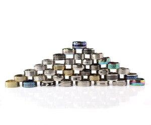 Image 3 - Edelstahl Schmuck Ring 100 stücke/box Geometrische Design Gemischt Stile Männer der Frauen Punk Finger Ring Anillo de dedo Großhandel lot